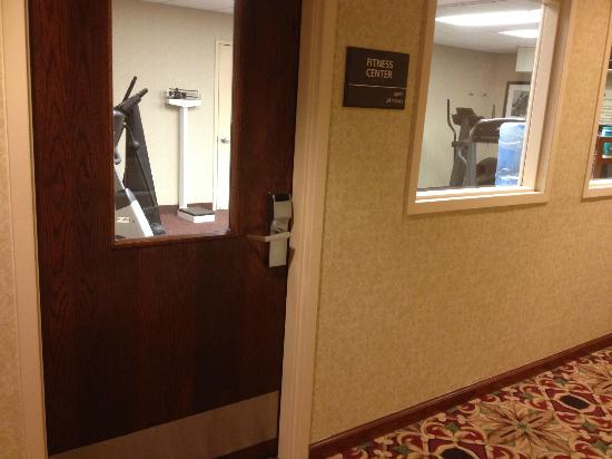 Hampton Inn Princeton: View from room 119, angled slightly to the right. Exercise room door closes with a hearty bang.