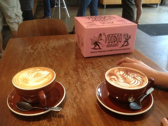 Stumptown Coffee Roasters: Latte and mocha with Voodoo donuts