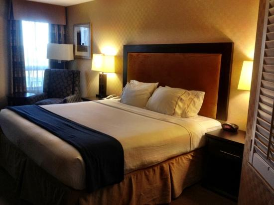 Holiday Inn Express Hotel & Suites Riverport: Huge comfortable King bed with hard/soft coded pillows.
