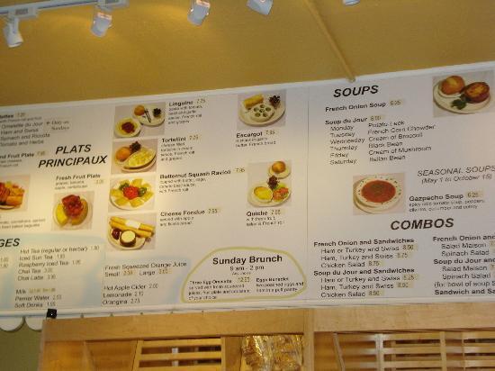 LA Baguette - Old Colorado City : Partial view of their menu