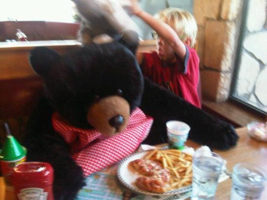 Black Bear Diner: My son having dinner with two big black bears