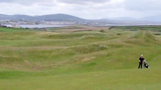 Carne Golf Links: belmullet town in the distance