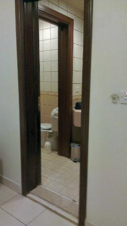 Royal Hotel & Suites: Bathroom with a sink, WC and shower.