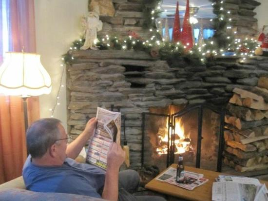 Swiss Farm Inn: Nice fire to read by