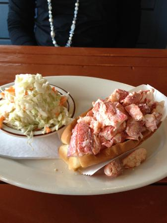 Captains Fresh Idea Restaurant: Lobster Roll With Mayo, just a touch, and Fresh Cole Slaw 