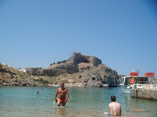 Agios Pavlos Beach (Saint Paul): View of Acropolis from St Pauls Bay