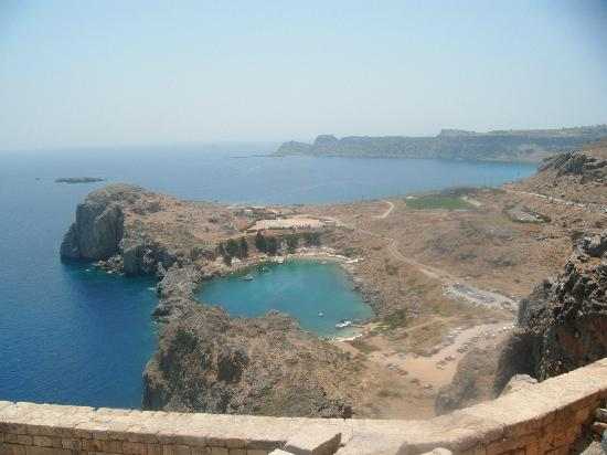 Agios Pavlos Beach (Saint Paul): View of St Paul's Bay from the Acropolis