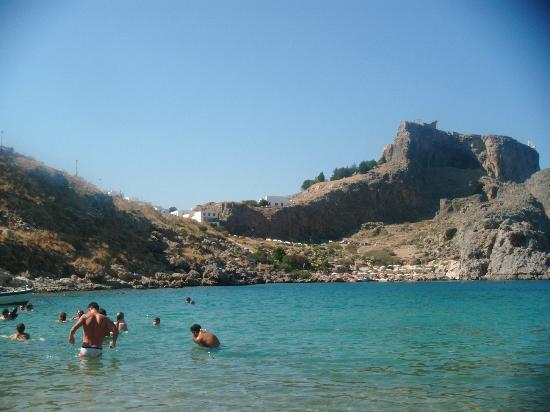 Agios Pavlos Beach (Saint Paul): View of Acropolis from St Paul's Bay