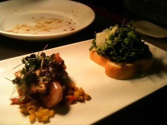 Fusion: mushroom&brioche and prawns and pork belly