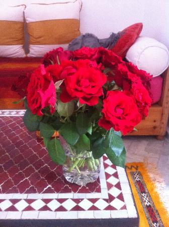 Dar Liouba: My birthday flowers from the Riad.