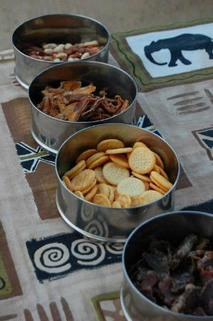 Jock Safari Lodge: Snacks you have every day during your safari drive