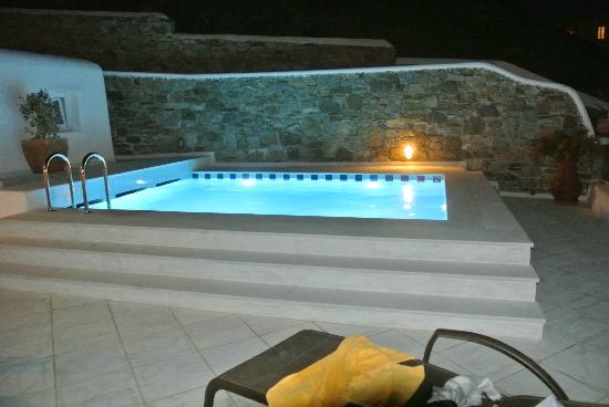 Grand Beach: Private Pool at night
