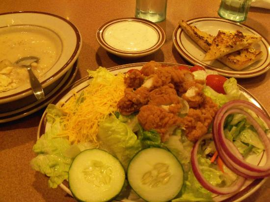 Denny's - Chiquella Lane: chicken deluxe salad and clam chowder i guess