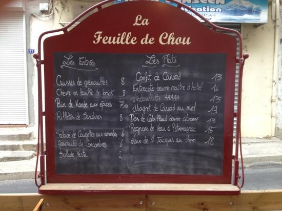 Λε Βαν, Γαλλία: menu