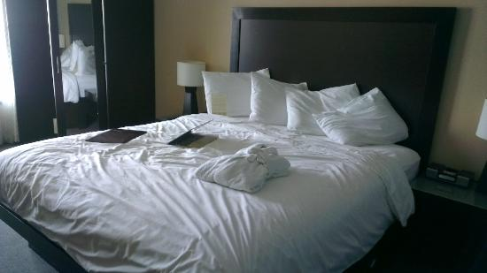 The Orlando Hotel: The bed in room 309 after arriving and logging into the WiFi