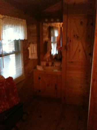 Shipshewana Campground & Amish Log Cabin Lodging: Little sink in room, shower and toilet in adjacent room.