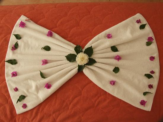 Karbel Hotel: Maids decorate towels with flowers each Sunday you do not need to tip for this.