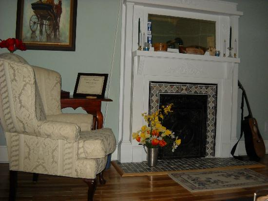 Cadiz Street Bed and Breakfast: Fireplace in living room.