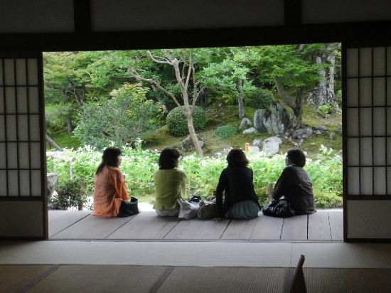 Tenryuji Temple: Enjoy the gardens sitting on the porch of the temple