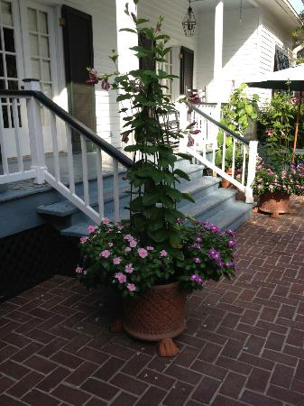 Historic Oak Hill Inn: Back porch , beautiful plants & flowers !