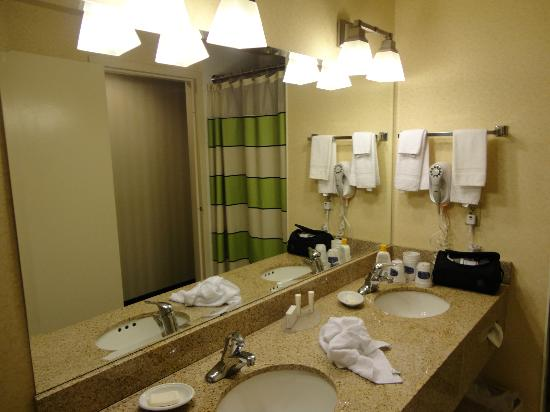 Fairfield Inn & Suites Belleville: Bathroom room 101 - double sink, separate shower stall