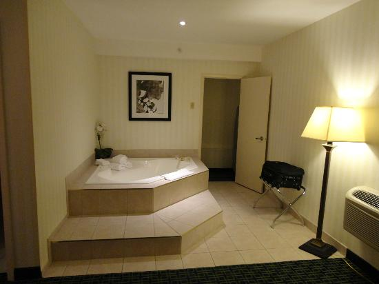 Fairfield Inn & Suites Belleville: Step up Jacuzzi in room 251 bedroom