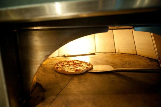 Cornerstone - Artisanal Pizza & Craft Beer: Cornerstone Not So Traditional Margarita Pizza ready to come out of the oven