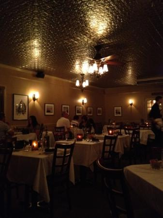 Angelina's Ristorante & Wine : stunning dining room with pressed tin ceilings