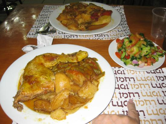 Delicious chicken dinner, Rachmo Restaurant, Jerusalem, Israel