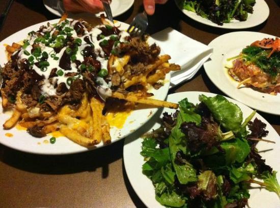 Man fries! Fries w/ kalua pork and Hapa J's yummy sauce, spicy ahi poke, & salad w/ yuzu dressi