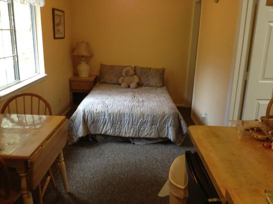 Pine Knot Guest Ranch: Double bed-directly across from kitchenette