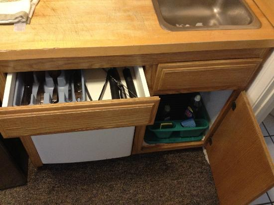 Pine Knot Guest Ranch: Utensils & under sink - see other photos for detail-Cabin 15