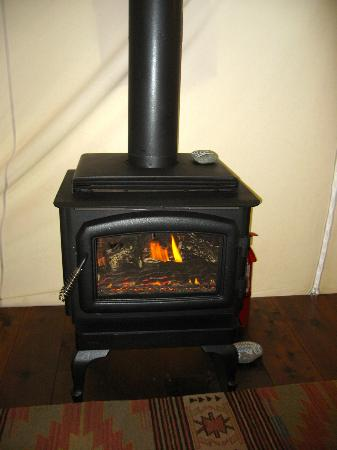 Clayoquot Wilderness Resort: Tent fireplace