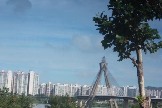 Seoul Olympic Parktel : pemandangan jembatan yang menghubungkan SOUL utara, dan Selatan, dari olympick parktel kamar 111
