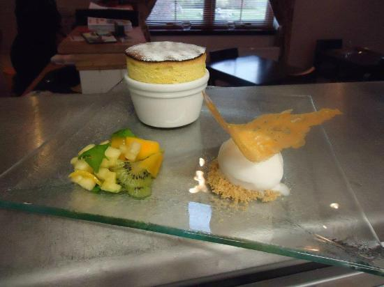 The Birch Tree: Pineapple Souffle with Coconut Sorbet and Mango, Kiwi Fruit and Pineapple Salad