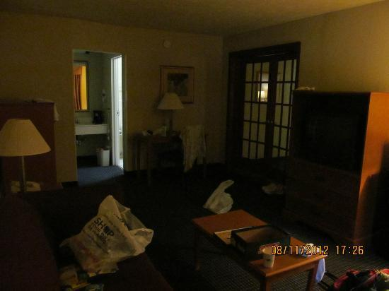 Travelodge Inn & Suites Williamsburg Historic Area: living area, couch, microwave, fridge, dbl doors to bdrm. ac in this rm too!