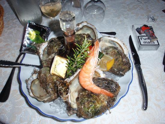 Chateau de Cavanac: assiette d'huîtres du pays