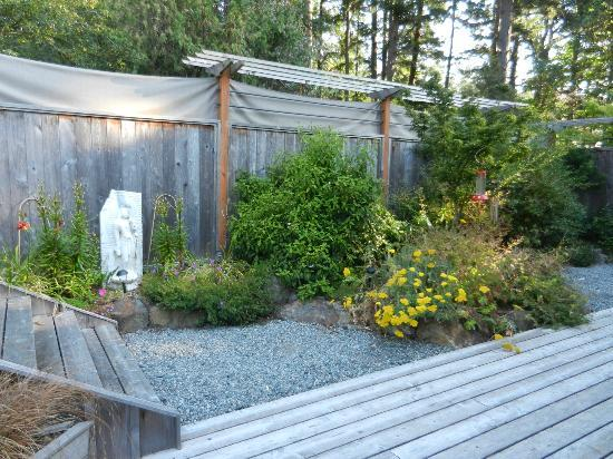 Heartwood House: Courtyard area where sauna, hottub, hammock reside.