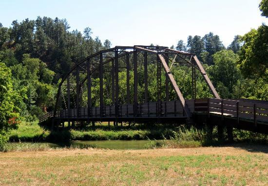 Niobrara State Park: The recycled bridge that crosses the Niobrara River to get back to the falls.