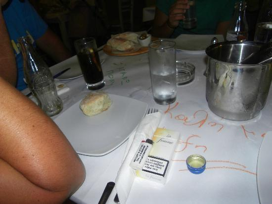 Kouzina: Waiting for our food. Handmade bread was served which nice to start with