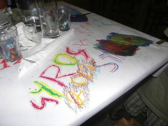 nice touch we had crayons and we could draw on the paper table