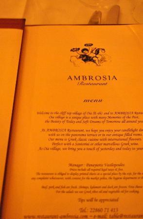 Nectar and Ambrosia: menu