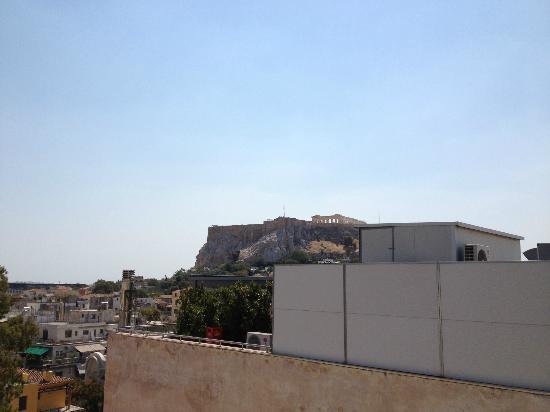Hermes Hotel: Vue sur l'acropole depuis la terrasse de l'hôtel