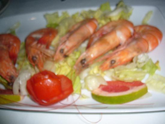 Arenas del Mar: camarones ricos, en restaurant del hotel