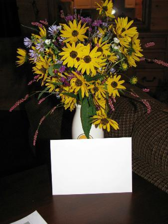Horse Creek Stable Bed and Breakfast: Our Anniversary flowers and card from Lester and Diane