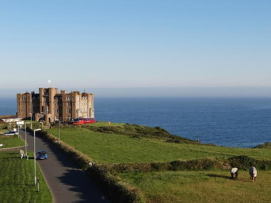 Pendrin House: View to Camelot Castle Hotel & Sea