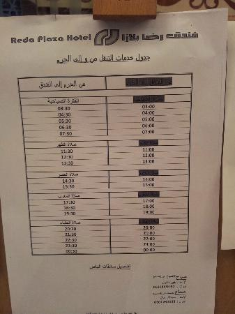 Reda Plaza : Bus timetable from to the hotel / from to Masjid al Haram