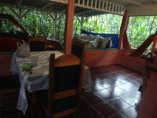 Hidden Jungle Beach House : Kitchen table and hammock