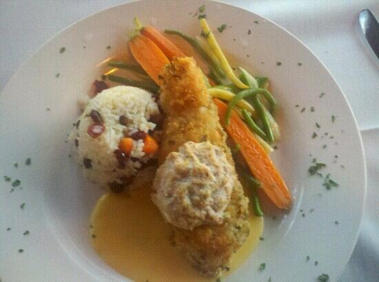 The Bistro at Marshdale: Crusted pan seared halibut with a blue crab compote. Cranberry rice pilaf. Fresh veggies.