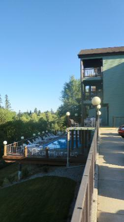 Pine lodge deck and pool area